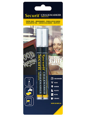 2 x  Kreidestift weiß 1 - 2 mm, Chalk Marker white,  BL-SMA100-V2-WHI