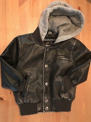 Toddler Boys Black Faux Leather Hooded Jacket Size 24months 2T
