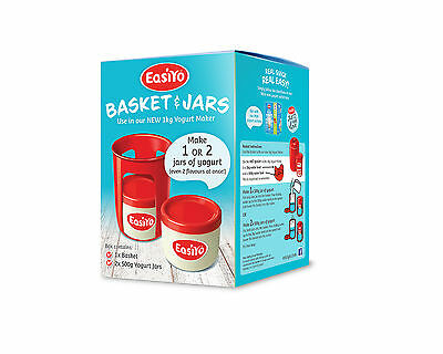 Easiyo Pack Of 2 500g Yoghurt Jars & Basket For Use With Mini Green Yogurt Maker