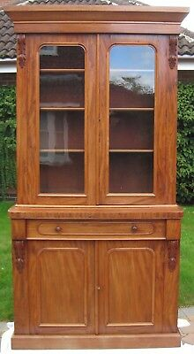 Antique Edwardian Mahogany Glazed Bookcase with Drawer and Cupboard