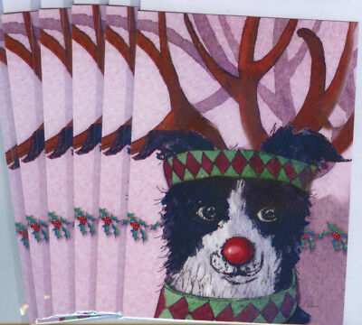 6 Border Collie dog reindeer antlers holiday Christmas art cards by Susan Alison