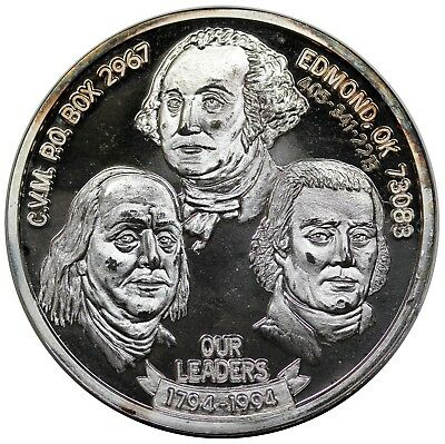 "1994 CVM medal, ""Our Leaders, 1794-1994"", 1 oz. .999 Silver, BU"