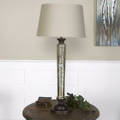 New 35 Antiqued Mercury Glass Table Lamp Aged Mango Wood Hardback