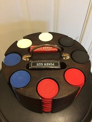 Wooden Poker Set with Revolving Carousel Caddy (with cards and chips)