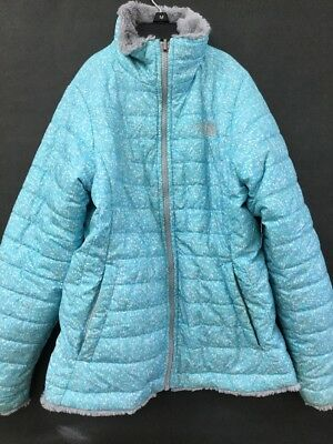 USED The North Face Swirl Puffer Reversible Blue Jacket Coat Girl's Sz:M (sb)