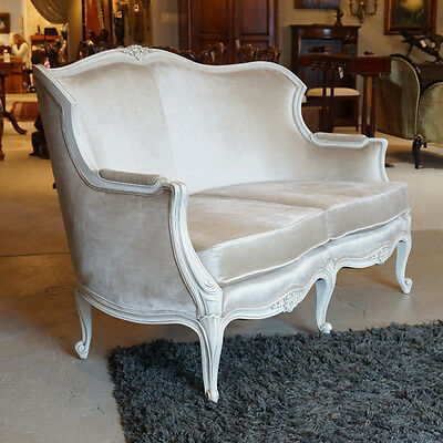 Gorgeous French Carved White on White love seat