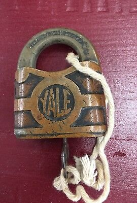 Brass YALE Towne Mfg Co Solid Brass Antique Lock and Key -Stamford