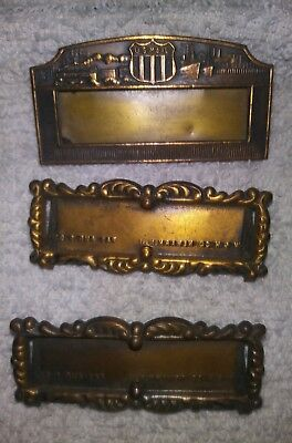 Antique Mercantile Store Post Office W & H Newark NJ Brass Name Plate Tag Pins