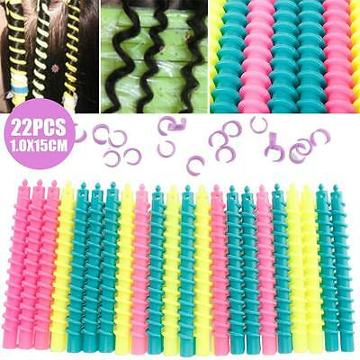 22Pcs Large Styling Plastic Barber Hairdressing Spiral Hair Perm Rod LQUS