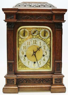 Rare Antique German W & H Carved Oak Triple Train Musical 9 Gong Bracket Clock