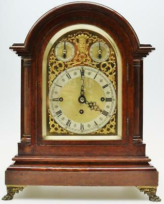 Antique English Oak Arched Top Triple Fusee Musical 8 Bell 5 Gong Bracket Clock