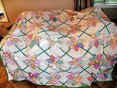 Vintage Flower Quilt Top Cutter or Repair Hand Stitched Flour Sack
