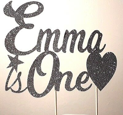 PERSONALISED Sparkling Glitter Birthday Cake Topper with Name & Age plus shape