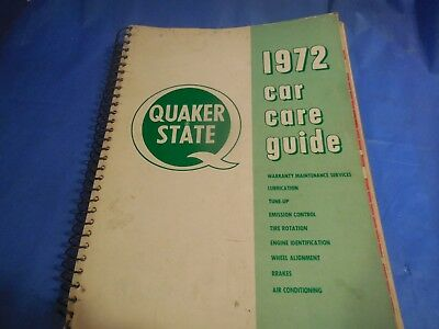 1972 Quaker State Original Car Care Guide!! Covers Applications From 1963-1972!