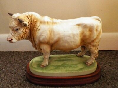 Vintage Andrea Sadek Porcelain Large Charolais Bull With Wooden Stand 10.5 ""