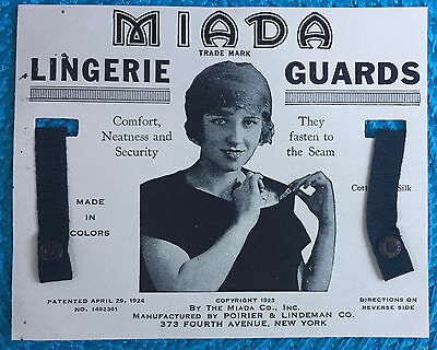 Miada Lingerie Guards 1923; Poirier & Lindeman Co. NY; Keep Straps in Place