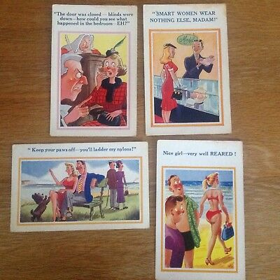 4 Vintage 1960s Postcards Comic Saucy Seaside Sunshine Comic 5180 5247 5491 5593