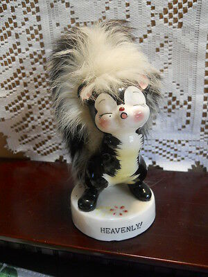 """Adorable Fuzzy Tail, 'HEAVENLY' Ceramic Skunk Figurine 5"""" BY UCAQCO, JAPAN"""