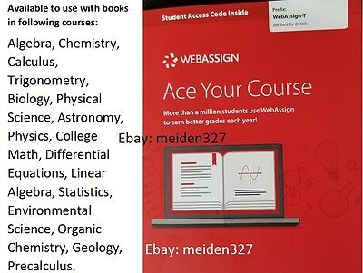 WEBASSIGN ACCESS CODE  Same Day delivered (RSY MATH&SCIENCE book listing  inside)