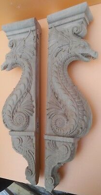 "20"" Large Wooden Corbel/bracket Dragon.  Carved from oak wood."