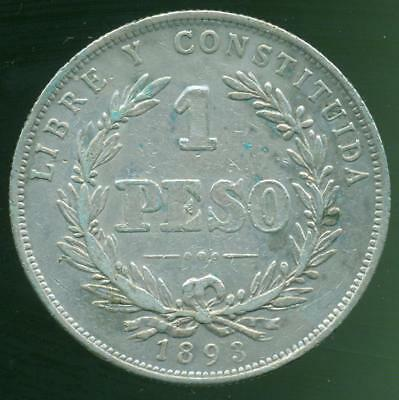 Uruguay Silver Coin 1 One Peso 1893 Buenos Aires Mint Vf Condition Crown Size