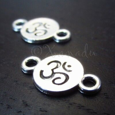 Om Aum Ohm Yoga 21mm Silver Plated Connector Charms C5857-10 20 Or 50PCs