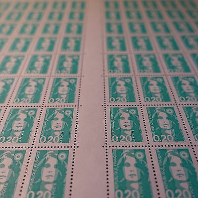 FEUILLE SHEET MARIANNE No.2818a x100 VARIETY WITHOUT PHOSPHORUS NEUF MNH SIDE
