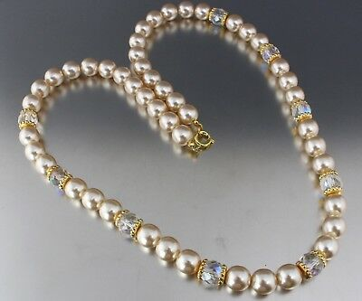 Vintage 70'S Cream Color Glass Pearl & Crystal Glass Bead Necklace