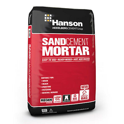 20KG Hanson Sand & Cement Mortar For Easy Brick Block Laying Patching Rendering
