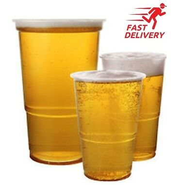 Plastic 1/2 Half Pint, 1 Pint Disposable Clear Beer Glasses Cups Tumblers Clear