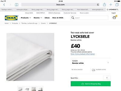 Ikea lycksele Sofa Bed Cover In White double