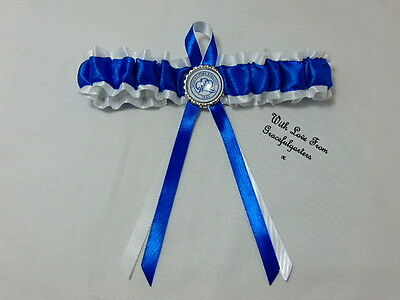 Football team bridal wedding garter. any team.  the hoops. blue and white