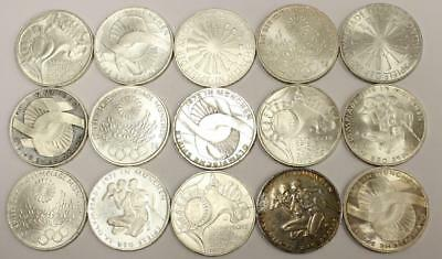 15x Germany 10 Mark silver coins 1972 Munich Olympics VF to Choice AU55+