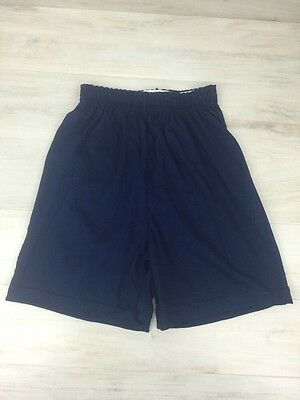 Augusta Sportswear Youth Large Athletic Gym Workout Shorts Navy Cotton Blend