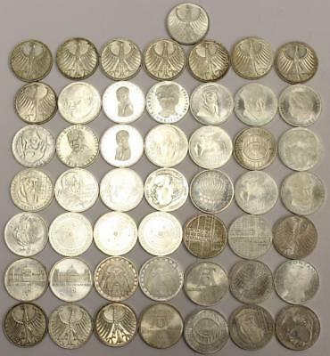 50x Germany 5 Mark silver coins dated from 1964 to 1977 VF to UNC