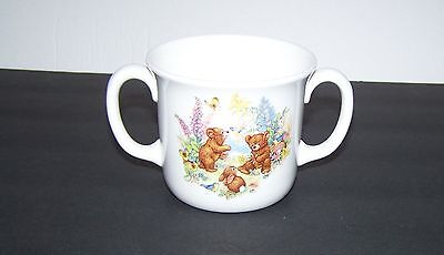 Royal Doulton Bone China Honey Bears Two Handled Mug/Cup Bears/Bunny/Flower