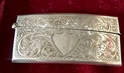 Antique STERLING Silver Curved Calling Card Case Business Vintage SCROLL