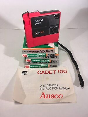 Ansco Cadet Disc Disk 100 Vintage Camera Red RARE 3 Pack NOS Film FREE SHIPPING