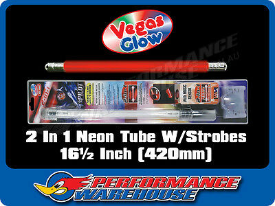 2 IN 1 NEON TUBE WITH STROBES RED PULSES TO MUSIC 16½ INCH 420mm CAR UTE BOAT