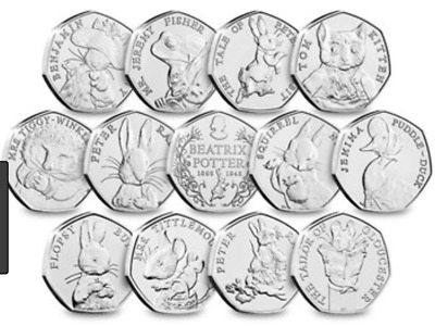 CHEAP AND COMMEMORATIVE UNCIRCULATED BEATRIX POTTER 50p COINS - JEMIMA ETC