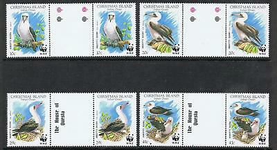 STAMPS  AUSTRALIA  CHRISTMAS ISLAND  1990 BIRDS WWF Gutter Pair  (MNH) lot C23