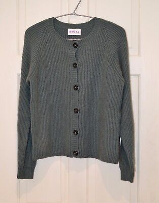 BRORA Gray Green Cardigan 100% Pure Cashmere Made in Scotland