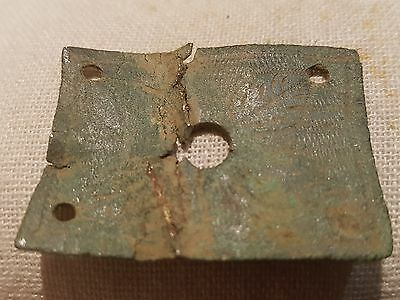 Lovely decorated Roman bronze mount from Villa site in Yorkshire Uk 1975 L10i