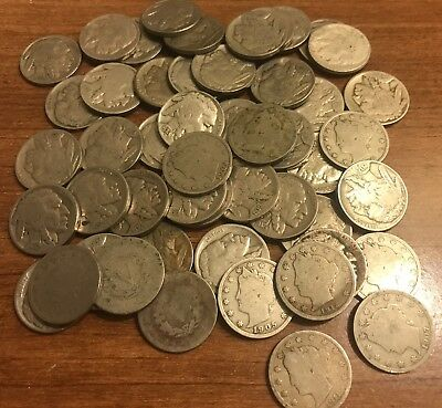 Buffalo & V-Nickel Lot 50 Coins - 1899-1930's