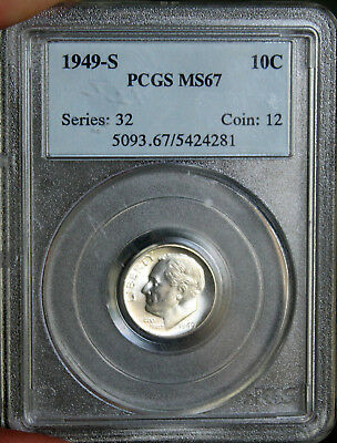 ~☆BLAST WHITE!☆~ 1949-S MS-67 Roosevelt Dime PCGS  Awesome looking coin