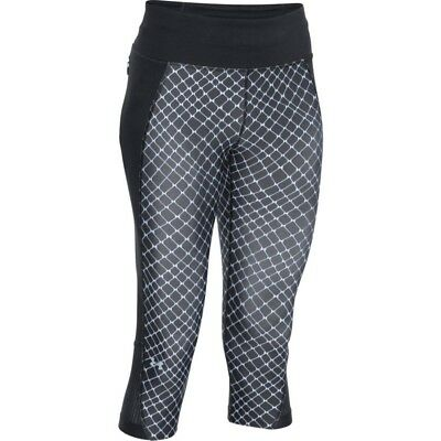 Under Armour Women's Fly-By Printed Capri YOGA/FITNESS PANTS Black/White Was $55