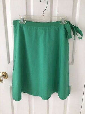J. Crew A-line Green with Ribbon tie Cotton Skirt, Knee Length, Women's Size 2
