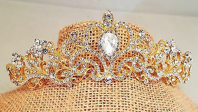 Ravishing Bridal , Prom , Wedding Gold Plated Austrian Crystal Tiara Style T-023