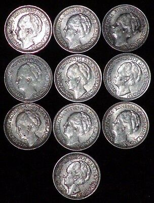 *LOT OF TEN* Netherlands Queen WILHELMINA 10 Cents Silver Coins VARIOUS DATES