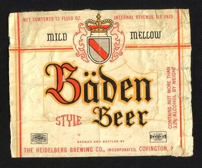 BADEN STYLE  BEER 12 Oz. LABEL  - IRTP   -  NO MORE THAN  3.2 %  - COVINGTON, KY